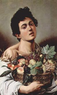 Мальчик с корзиной фруктов