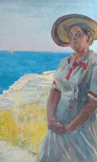 Portrait of the artist's wife A. S. Sokolova-Scalia (Myasnikova) in the Chersonese. 1954