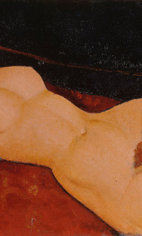 Nude on a white pillow