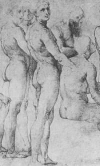 """Этюд к фреске """"Диспут"""". Этюды стоящих и сидящих обнаженных фигур"""