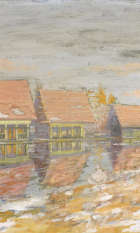 Summer houses by the river