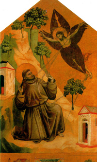 Св. Франциск, получающий стигматы, с тремя сценами из жития