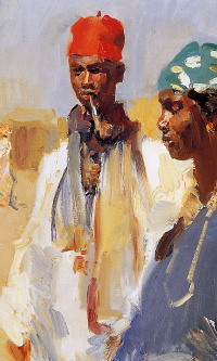 Double portrait of heads of Africans