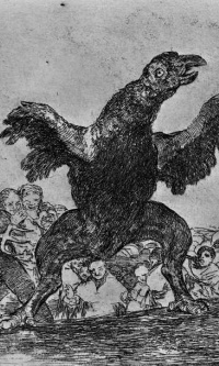 """The series """"disasters of war"""", page 76: Feeding on the bodies of the vulture"""