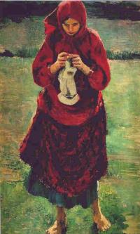 Peasant girl knitting a stocking