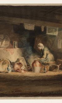 Старуха на кухне в коттедже