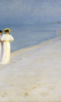 Летний вечер на южном пляже Скагена. Анна Анкер и Мария Крейер