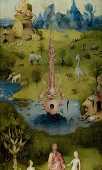 The garden of earthly delights. Left wing