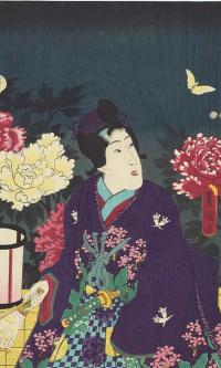 Триптих: Ночное созерцание цветущих пионов
