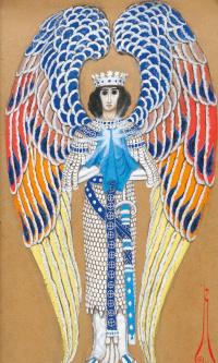 Ангел Святого Грааля. 1914 поверх карандаша
