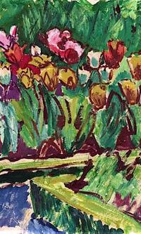 Грядка в саду. Тюльпаны