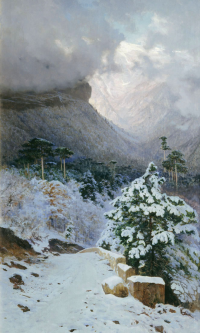 Winter in the Crimea. The road to Wuchang-Su. Omsk Regional Museum of Fine Arts. M. A. Vrubel