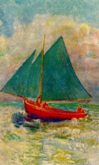 Red boat with blue sail