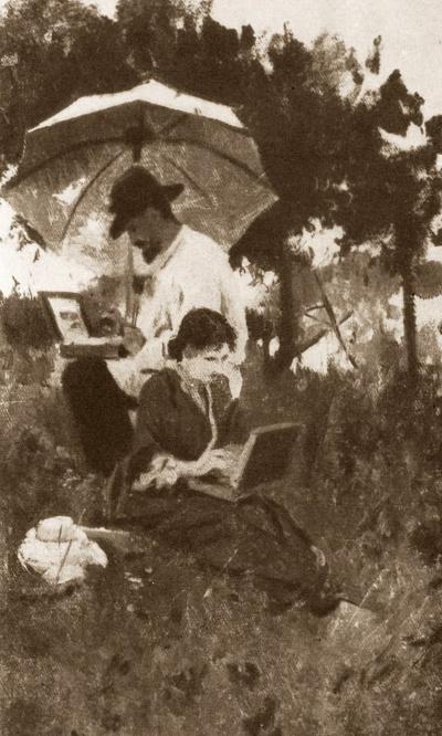 I. Levitan and S. P. Kuvshinnikova on sketches