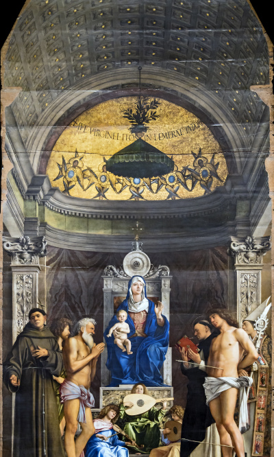 The throne of St. Job. Madonna and Child with Saints