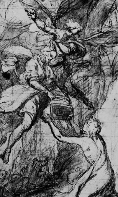 Даниил во рву львином получает пищу от пророка Абакука