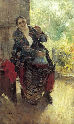 Konstantin Korovin. The hostess (Woman wine)