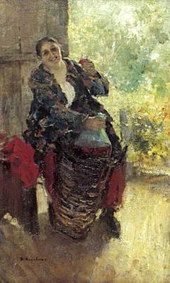 Konstantin Korovin. The hostess (Woman wine)