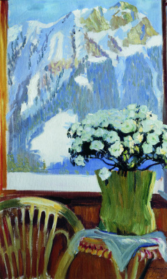 Boris Mikhailovich Kustodiev. Flowers on the balcony with mountains in the background