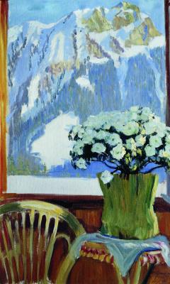 Борис Михайлович Кустодиев. Цветы на балконе на фоне гор