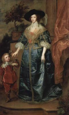Антонис ван Дейк. Портрет королевы Генриетты Марии с маленьким сэром Жофреем Хадсоном