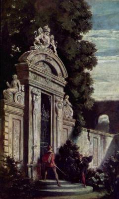 Moritz background Schwind. Night match before the gates of the garden