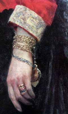 Ilya Efimovich Repin. Portrait of Baroness Varvara Ivanovna Ikskyul von Hildebrandt. Detail