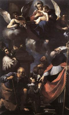 Джованни Франческо Гверчино. Пред Богородицей с младенцем