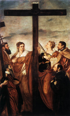 Jacopo (Robusti) Tintoretto. The worship of the Cross. Saint Helena and Saint Barbara