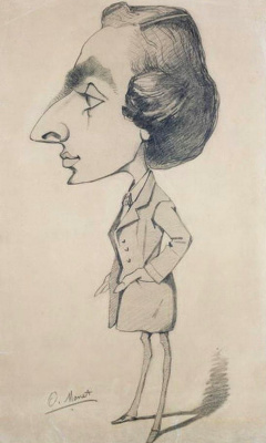 Claude Monet. Caricature of a young man