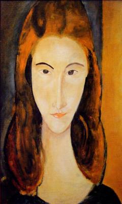 Андрей Харланов. Copy: Modigliani - Jeanne Hébuterne looking front 1918 Oil on canvas 46 x 29 cm