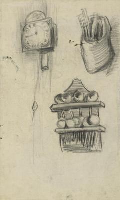 Vincent van Gogh. Clock, utensils and a shelf of spoons