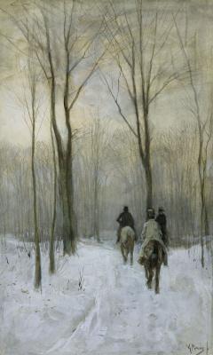 Антон Мауве. Всадники на снегу