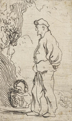 Ян Ливенс. Стоящий мужчина с корзиной