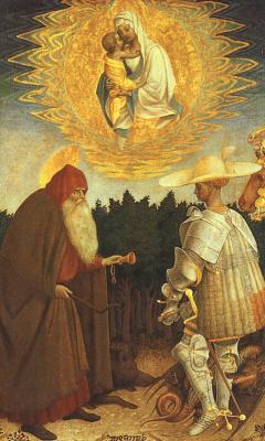 Антонио Пизанелло. Дева с младенцем и святыми Джорджом и Антонием
