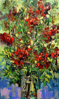 Ilya Pavlovich Spichenkov. Mountain ash bouquet. Day