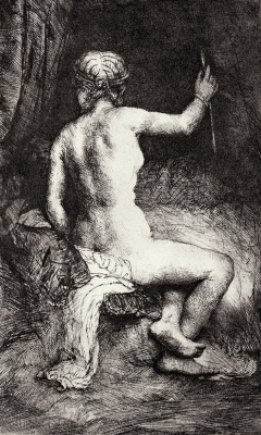 Rembrandt Harmenszoon van Rijn. Nude with an arrow