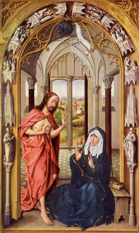 Рогир ван дер Вейден. Явление Христа Деве Марии, Алтарь Девы Марии, правая створка